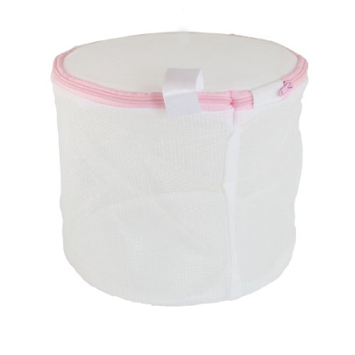 Laundry Zipper Closure White Meshy Folding Bra Underwear Wash Washing Bag front-163176