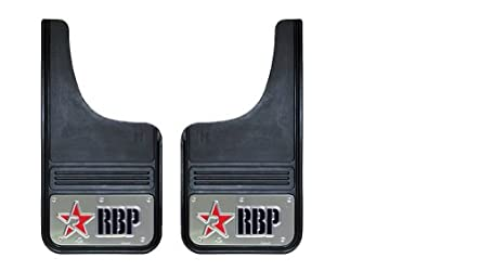 RBP 757003-SS Red/Black Stainless Background 12″ x 23″ Cut Back Universal Mud Flap with RBP Die Stamp