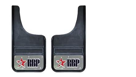 RBP 757003-SS Red/Black Stainless Background 12″ x 23″ Cut Back Universal Mud Flap with RBP Die Stamp