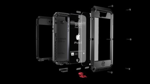 【正規代理店品】 LunaTik au SOFTBANK iPhone5用ケース TAKTIK 5 EXTREME - Black/Black/Red TT5H-001