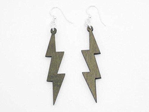 [Tan Lightning Thunder Bolts Wooden Earrings Jewelry] (Thunder Lightning Costume)