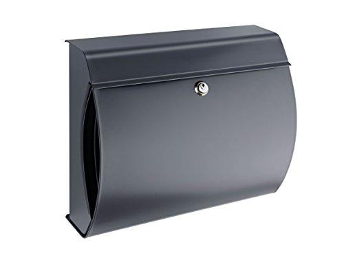 VERONA 844 Anthrazit, mit integriertem Zeitungsfach, inkl. Innenlicht und Öffnungsstopp, Maße: 354 x 404 x 150 mm (HxBxT), Einwurf: 335 x 30 mm (BxH), Format: DIN C4, Made in Germany