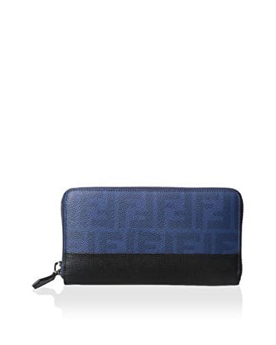 Fendi Men's Zucca Coated Canvas Continental Travel Wallet, Cobalt