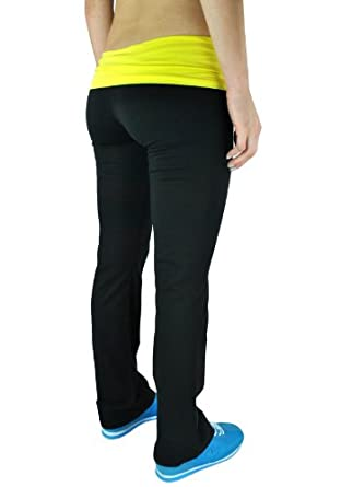 Fold Over Contrast Waist Lounge Pants Cotton Spandex (Juniors Small, Black/Yellow)