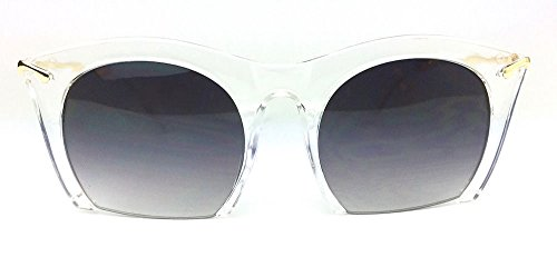 "RAZOR"" Semi Rimless Black Gradient Cut Off Lenses Oversized Women Sunglasses Color Clear Transparent"