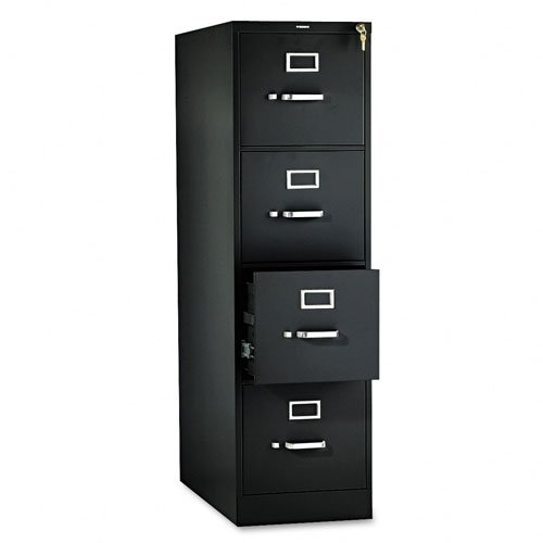 HON 314PP 310 Series 26-1/2-Inch 4-Drawer Full-Suspension Letter File, Black