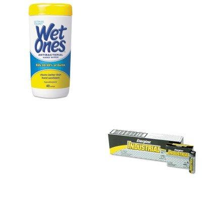 Kiteveen91Plx4672 - Value Kit - Wet Ones Antibacterial Moist Towelettes (Plx4672) And Energizer Industrial Alkaline Batteries (Eveen91) front-982122