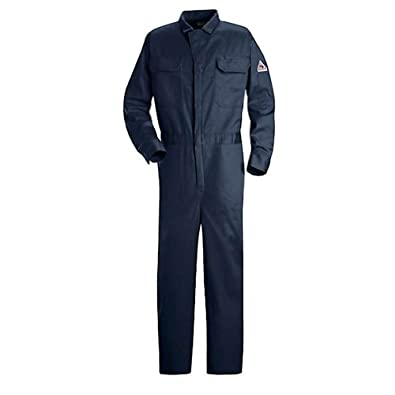 Bulwark Flame Resistant 9 oz Twill Cotton Excel FR Regular Deluxe Coverall with Concealed Snap Closure On Sleeve Cuff, Navy, Size 58
