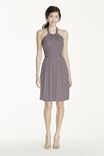Short Halter Lace and Mesh Bridesmaid Dress Style F17020, Portobello, 0