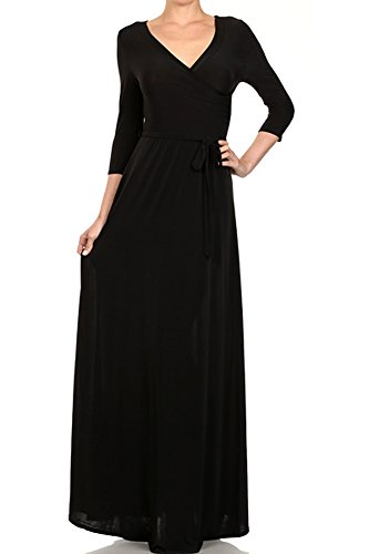 Modern Kiwi Solid V-Neck Long Sleeve Wrap Maxi Dress Black Medium