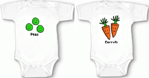 Peas and Carrots Set of 2 Matching Twins One-piece Baby Shirts/Bodysuits