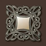 Carved Wall Art With Mirror - Silver