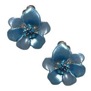 Eileen Silver Turquoise Crystal Clip On Earrings