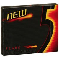 Wrigleys 5 Sugar Free Gum, Flare - 15 / Pack, 10 ea