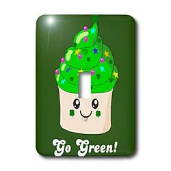 InspirationzStore Cute Food - Go Green - St Patricks Day Irish Cute Cupcake - Eco friendly Kawaii Dessert - Ireland Irish humor - Light Switch Covers - single toggle switch