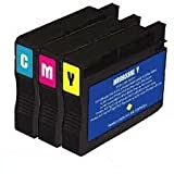 Set of 3 Compatible HP 933XL Cyan / Yellow / Magenta Multipack Printer Ink Cartridges. CN054AE CN055AE and CN056AE for Officejet 6100 ePrinter 6600 e-All-in-One 6700 Premium Printer (933XL C/M/Y)