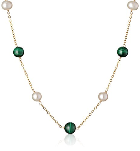 """Alternating Malachite and White Freshwater Cultured Pearl Tin Cup Gold over Silver Chain Necklace, 16""""+2"""" Extender"""