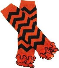 Orange And Black Chevron Leg Warmers With Chiffon Ruffle front-1001442