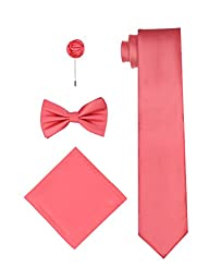 Bow Tie, Long Tie with Matching Hanky and Flower Lapel Pin - Coral