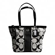 Coach Signature SP Stripe Patent Leather Tote Bag Silver Black