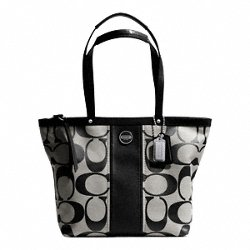 Coach Signature SP Stripe Patent Leather Tote Bag Silver Black Picture