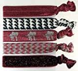 WHD001 5pc Hair Bands, Pony Tail Holder, Hair Ties, Hairties- Bracelet Hair Ties, Hair Ties Wristlet University of Alabama Colors, Elephant, Burgundy, White & Black, Glitter Red, Roll Tide! at Amazon.com