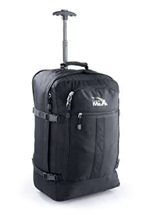 Cabin Max Lyon Flight Approved Bag Wheeled Hand Luggage - Carry on Trolley Backpack 44L 55x40x20cm (black)