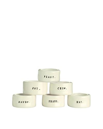 Rae Dunn by Magenta Set of 6 Napkin Rings, White