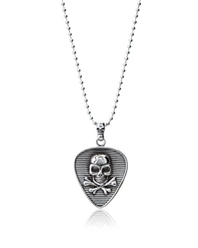 Stephen Oliver Oxidized Skull Textured Pendant Necklace