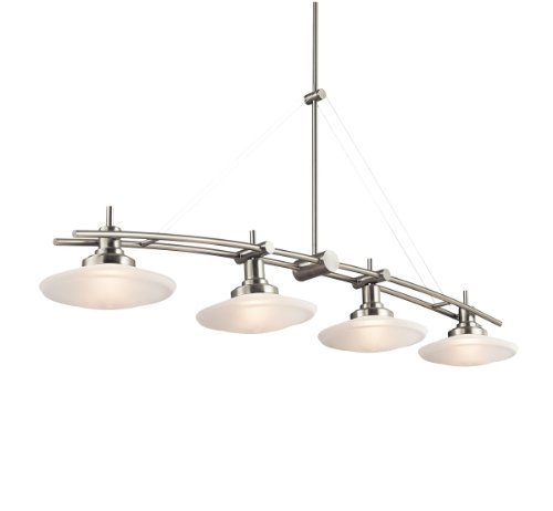 Kichler Lighting 2043NI Structures 4-Light Halogen Island Fixture, Brushed Nickel with Satin-Etched Glass