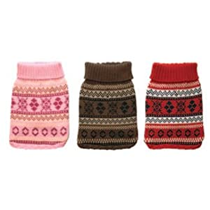 York Dog Nordic Fair Isle Knit Pattern Mock Neck Sweater - Pink, Large by New York Dog