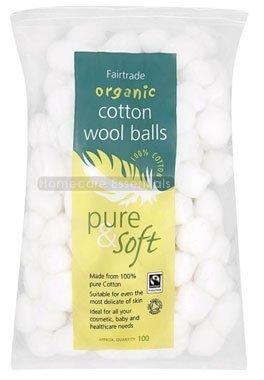 THREE PACKS of Pure & Soft Cotton Wool Balls - Organic & Fairtrade 100 Balls