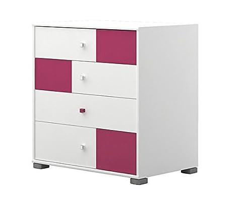 Kinderzimmer - Kommode Lena 09, Farbe: Weiß / Pink - Abmessungen: 89 x 84 x 56 cm (H x B x T)