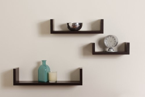 Floating U Shelves in Walnut Finish