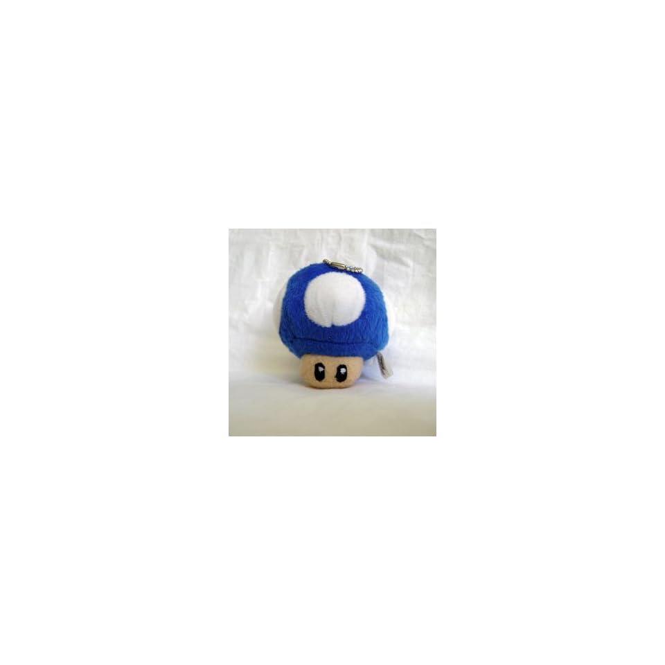 Super Mario Bro. BLUE Mushroom Plush Keychain