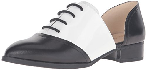 Nine West Women's Nevie Leather Oxford, Black/White, 7 M US