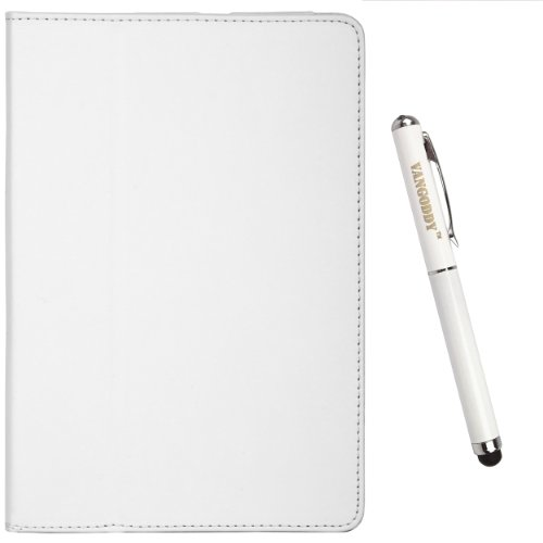 Pearl White Executive Leather Case Cover With Integrated Fold To Stand Feature For Samsung Galaxy Tab 7.7 Inch Android Wireless Wi-Fi Tablet (8Gb 16Gb 32Gb Wifi) Compatible With All Models + Executive Stylus Pen With Laser Pointer And Led Light + Sumaclif