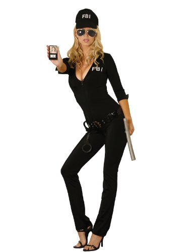 [Elegant Moments Women's Sexy FBI Agent, Black, Small] (Secret Agent Woman Costume)