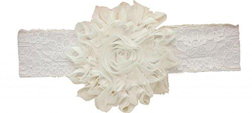 PinkXenia shabby flowers rosset white chiffon babygirl newborn Soft eadband
