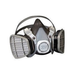 3M Large Black Thermoplastic Elastomer Half Mask 5000 Series Disposable Air Purifying Respirator With 4 Point Harness - 1 EA