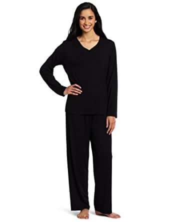 Casual Moments Women's Pajama V-Neck Set, Black, Small