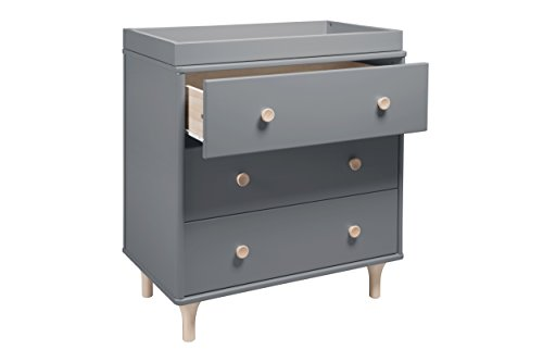 Babyletto Lolly 3 Drawer Dresser Changer, Gray/Washed Natural