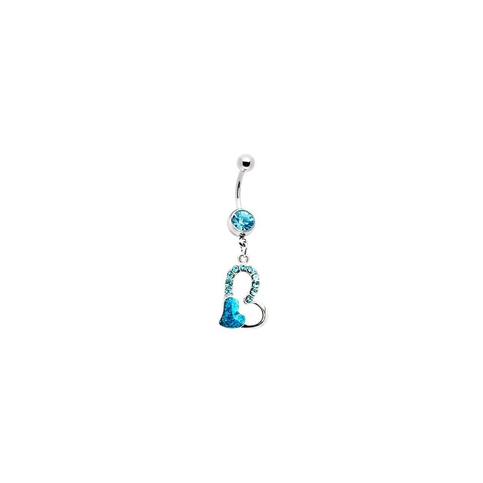 Aquamarine Gem Floating Hollow Heart Dangle Belly Ring Navel Ring Body Jewelry