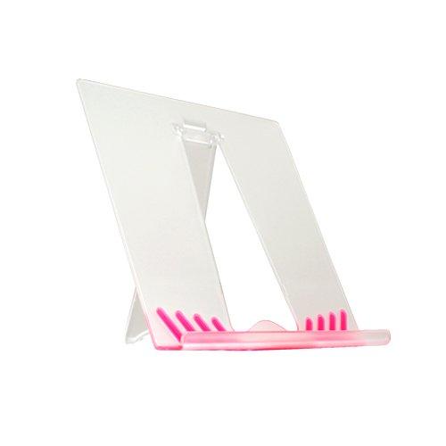 System-S Tisch Ständer Halter Halterung Stand Transparent Pink für eLyricon eBook Reader & Mediaplayer EBX-700 Touch