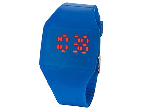 Moonar®Unisex Ultra Thin Cool Red Led Touch Screen Digital Display Rubber Wrist Watch(Dark Blue)