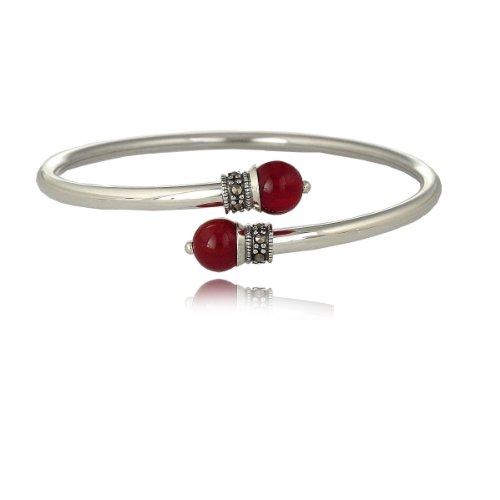 Sterling Silver Marcasite and Carnelian Bypass Bangle Bracelet
