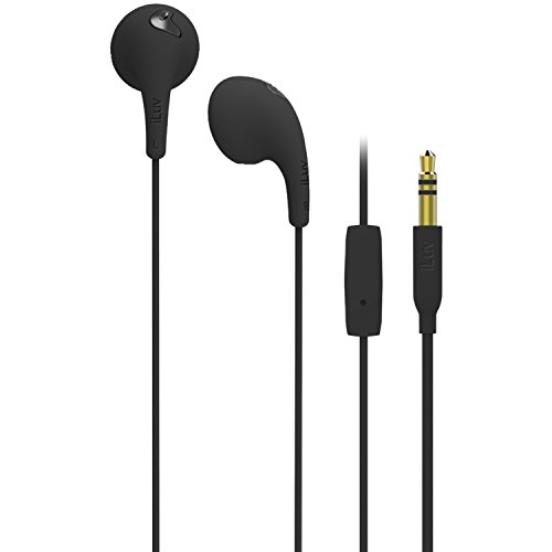 Iluv Bbgumtalksbk Bubble Gum Talk Earphones With Mic Control For Smartphones, Black
