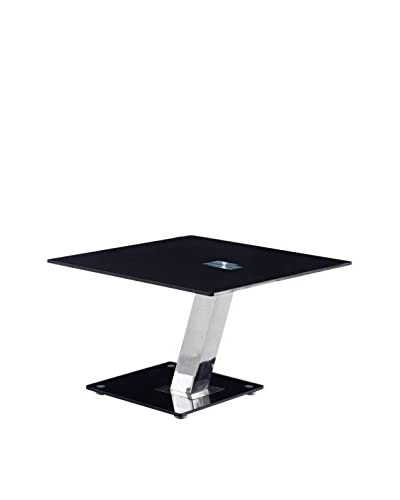 Luxury Home Modern Tempered Glass End Table, Black