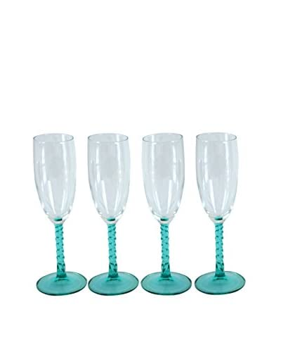 Patina Vie Vintage Set of 4 Champagne Flutes With Teal Stems, Teal/Clear