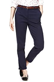 M&S Collection Cotton Rich Turn Up Hem Chinos [T54-6784-S]